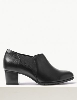 Wide Fit Leather Block Heel Chelsea Shoe Boots