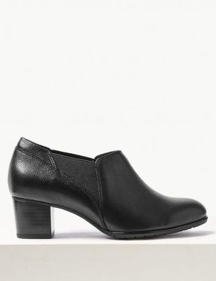 Wide Fit Leather Block Heel Chelsea Shoe Boots