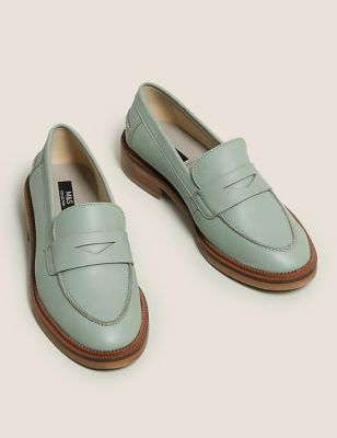 Wide Fit Leather Flat Loafers