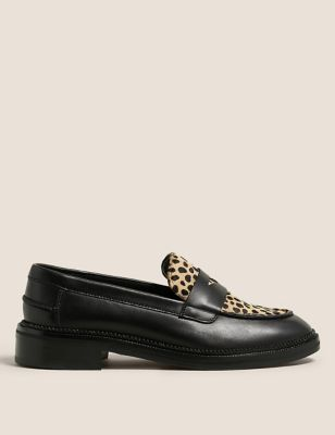 Wide Fit Leather Leopard Print Flat Loafers