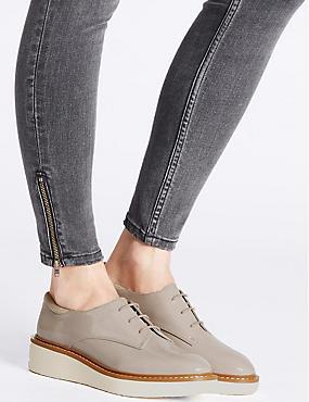 Leather Flatform Brogue Shoes, GREY, catlanding