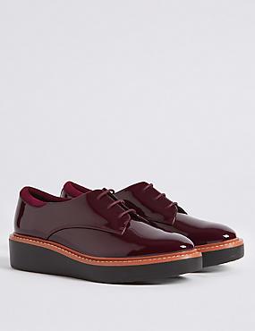 Leather Flatform Brogue Shoes, , catlanding