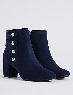 Wide Fit Block Heel Four Button Ankle Boots, NAVY, catlanding
