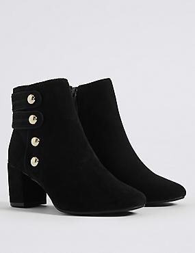 Wide Fit Block Heel Four Button Ankle Boots, BLACK, catlanding