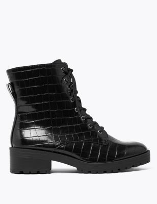 Wide Fit Lace Up Ankle Boots