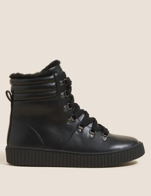 Wide Fit Lace Up Flatform Ankle Boots