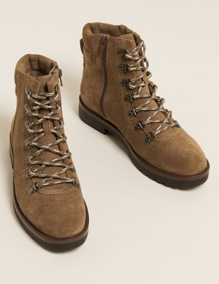 Suede Lace Up Hiker Ankle Boots