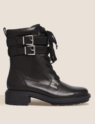 Leather Chunky Buckle Ankle Boots