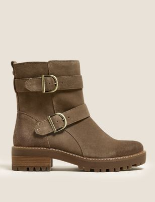 Suede Biker Buckle Ankle Boots