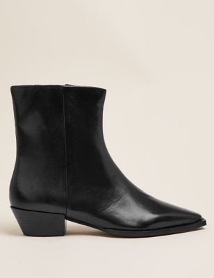 Leather Western Chisel Toe Ankle Boots