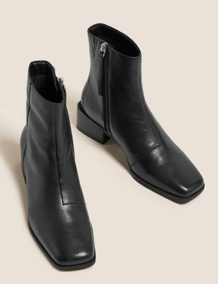 Leather Block Heel Square Toe Ankle Boots