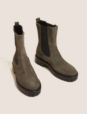 Suede Chelsea Block Heel Ankle Boots