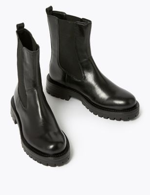 Leather Chelsea Chunky High Leg Boots