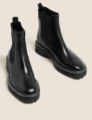 Leather Chunky Chelsea Flat Ankle Boots