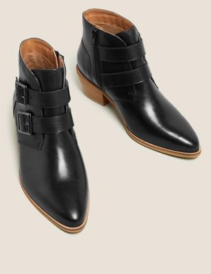 Leather Buckle Block Heel Ankle Boots