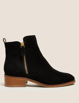 Suede Flat Square Toe Ankle Boots