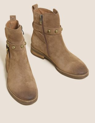 Suede Chelsea Buckle Ankle Boots