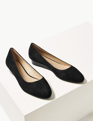 Suede Wedge Court Shoes