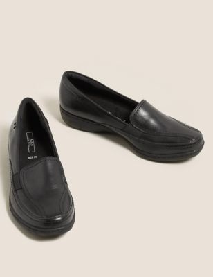Wide Fit Leather Wedge Loafers