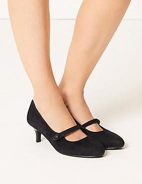 Wide Fit Suede Kitten Heel Court Shoes, NAVY, catlanding