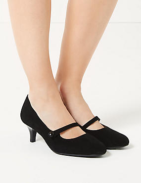 Wide Fit Suede Kitten Heel Court Shoes, BLACK, catlanding