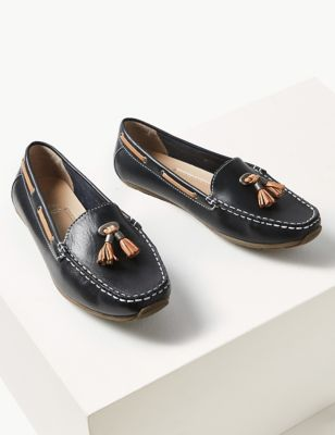 Wide Fit Leather Tassel Boat Shoes