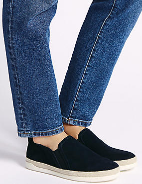 Wide Fit Suede Rope Detail Trainers, NAVY, catlanding