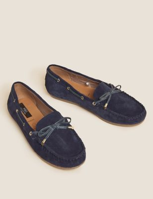 Wide Fit Suede Bow Trim Boat Shoes