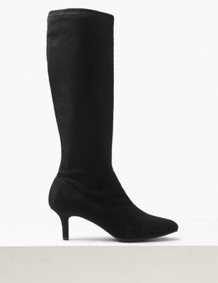 Kitten Heel Pointed Knee High Boots