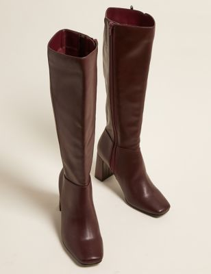 Block Heel Square Toe Knee High Boots