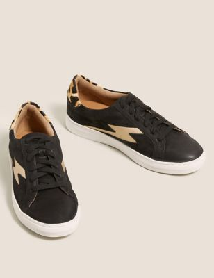 Lace Up Leather Side Detail Trainers