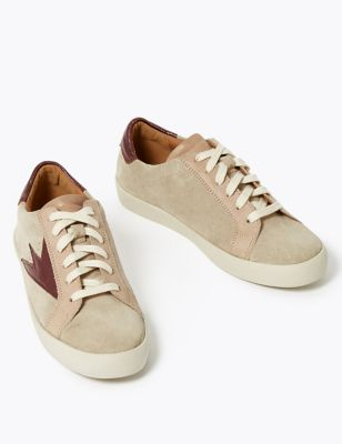 Suede Lace Up Flash Detail Trainers