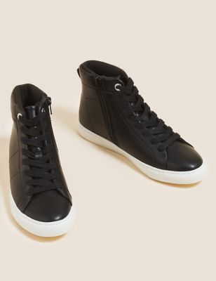 Lace Up Eyelet Detail High Top Trainers
