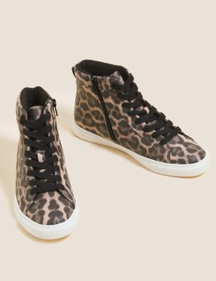 Lace Up Leopard Print High Top Trainers