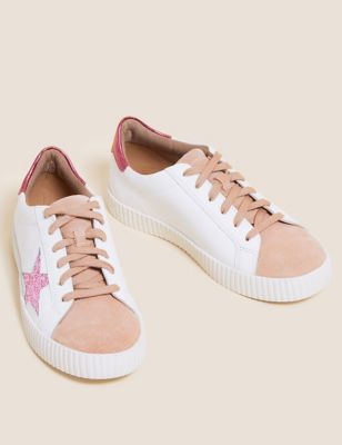 Lace Up Leather Star Trainers