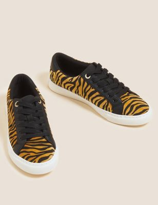 Lace Up Animal Print Eyelet Detail Trainers