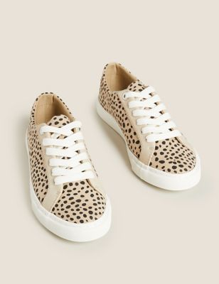 Lace Up Leopard Print Trainers