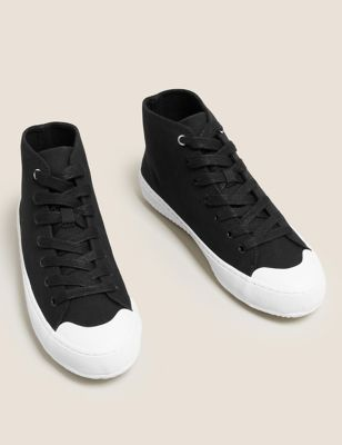 Lace Up Canvas High Top Trainers