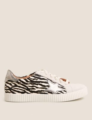 Lace Up Suede Animal Print Star Trainers