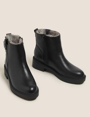 Biker Faux Fur Block Heel Ankle Boots