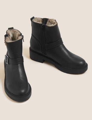 Biker Faux Fur Buckle Ankle Boots