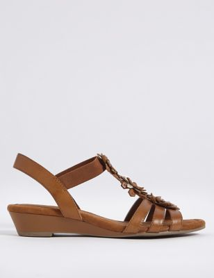 Wide Fit Leather Flower Sandals