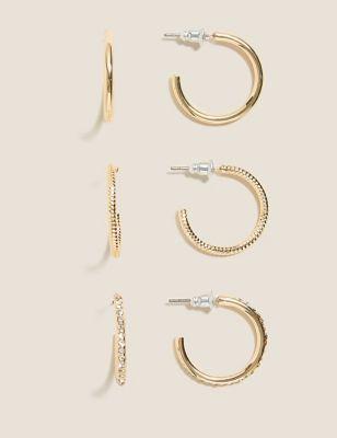 3 Pack Medium Hoop Earrings