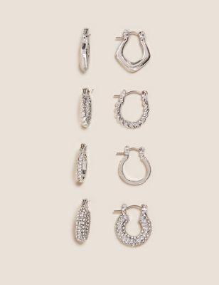 4 Pack Sparkle Mixed Hoop Earrings
