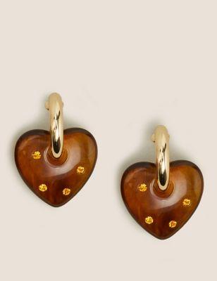 Resin Sparkle Chunky Heart Hoop Earrings