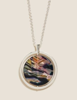 Long Tortoise Shell Disc Chain Necklace