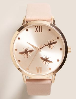 Rose Gold Tone Round Face Bee Watch