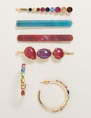 Mixed Stone Earrings & Hair Clip Set
