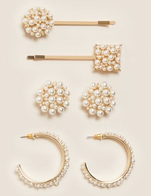 Pearl Earrings & Hair Clip Set