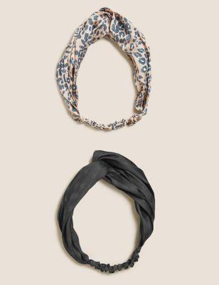 2 Pack Printed Jacquard Plain Headbands